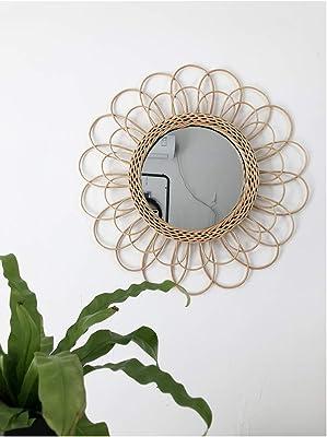 "GlowingSun Ethnic Rattan (New Size 19""/48cm) Handmade Wall Mirror Round Mirror Nordic Style Hanging Ornament, Living Room & Bedroom Decoration Mirror"