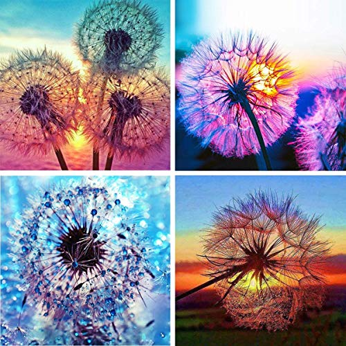 4 Packung 5D Diamond Painting, DIY Cross Stitch Stickerei Painting, Diamant Malerei Malen Nach Zahlen Full Drill Kristall Set, Stickerei Kunsthandwerk House Wall Dekoration, Löwenzahn(30 x 30cm)