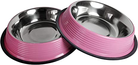 American Pet Supplies Dog Bowls, Set of 2 Non Skid & Non Tip Colored Stainless Steel Bowls for Puppies and Dogs