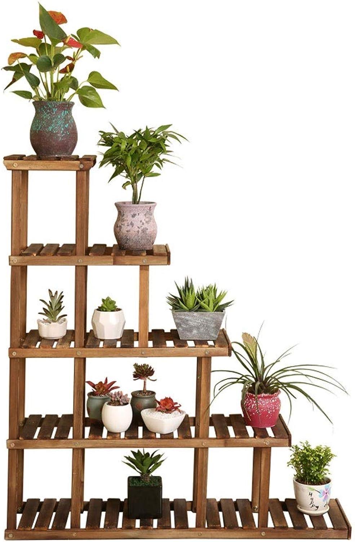 WAN SAN QIAN- Solid Wood Flower Stand Floor Type Multi-Layer Pot Rack Flower Shelf Indoor and Outdoor Plant Holder Flower racks