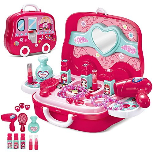 Makeup Set,Girls Pretend Makeup Kit, Cosmetic Pretend Play Set for Little Girls Dress-Up Toy Makeup with Carry Case for Kids by Ricdecor( 16 pcs)