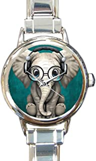 Coolstuffs Elephant Baby Wearing Glasses Sliver Quartz Analog Italian Charm Watch Fashion Casual Watches for Women