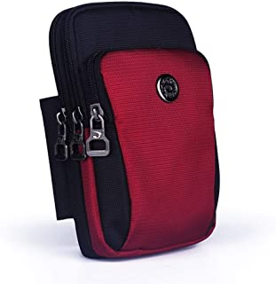 YWSCXMY-AU Waterproof Nylon Unisex Fanny Pack Mobile Phone Case Purse Small Cross Body Shoulder Belt Waist Pack Hook Bag (Color : Red)