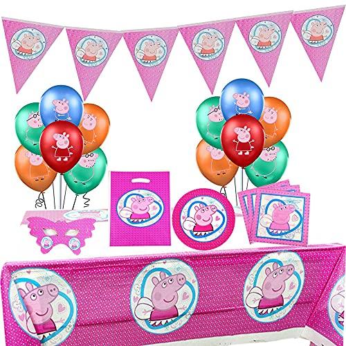 Peppa Pig Party Supplies Kit de vajilla para decoración de fiesta de cumpleaños incluido globos de pancarta Paquete completo de suministros para fiestas para 10 niños