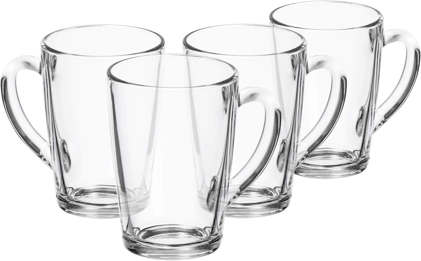 com-four® 4x Vaso de Té - Tazas de Vidrio con Mango - Ideal para Té, Chocolate Caliente, Café y Capuchino (04 piezas - 315ml)