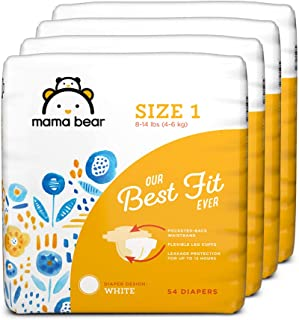 Amazon Brand - Mama Bear Diapers Size 1, 216 Count, White Print (4 packs of 54) [Packaging May Vary]