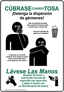 ComplianceSigns Vertical Plastic Cover Your Cough Stop The Spread of Germs Spanish Sign, 10 X