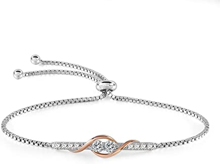 a397704d2 THEHORAE Rose Gold Adjustable Bracelet White Gold Bangle Bracelet with 5A Cubic  Zirconia Birthday Gift for