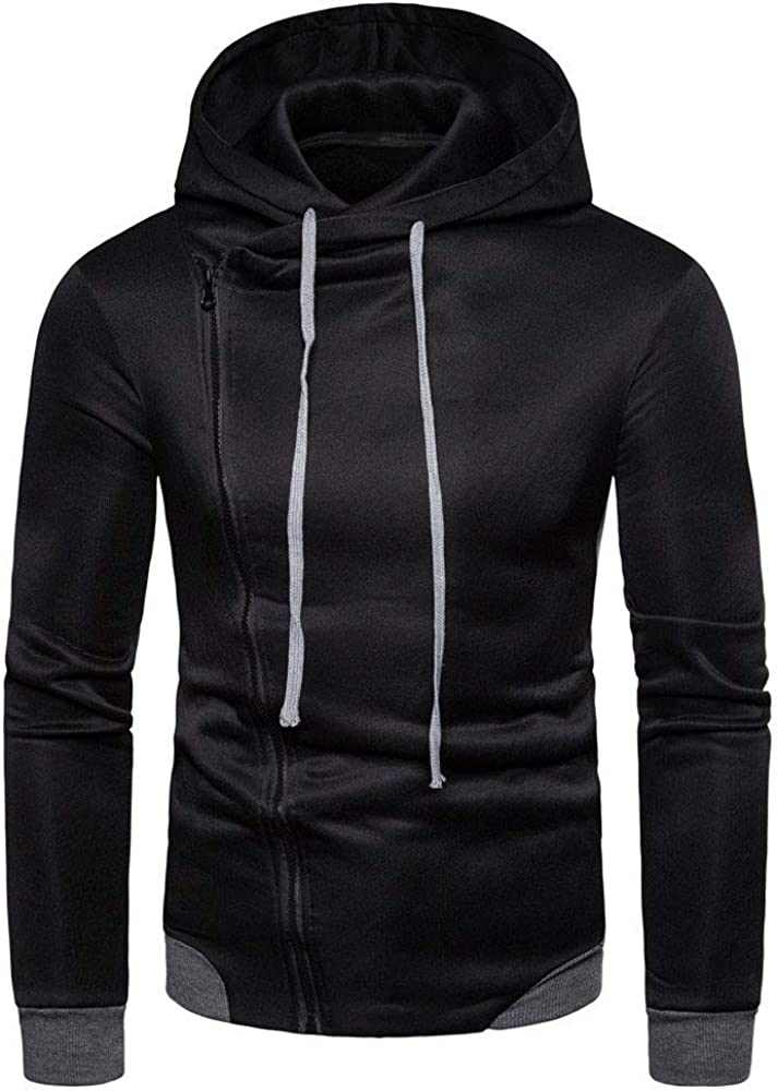 MODOQO Men's Zipper Hoodies Long Sleeve Plus Size Casual Warm Solid Pullover Sweatshirt