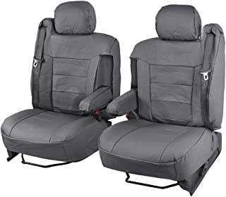 BDK Charcoal Gray PU Leather Seat Covers Luxury Leatherette for Car Truck Van - Armrest & Integrated Seatbelt