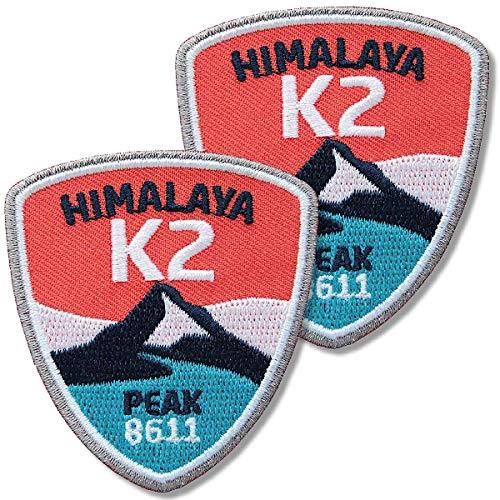 Club of Heroes 2 x K2 Himalaya Aufnäher 52 x 60 mm gestickt/Bergsteigen Berge China Pakistan/Patch Aufbügler Sticker Flicken Bügelbild/Patches zum aufnähen aufbügeln auf Jacke Kleidung