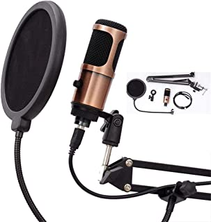 USB Microphone Computer Microphone, Plug &Play Home Studio Microphone, Condenser Microphone, Dual-Layer Acoustic Filter fo...