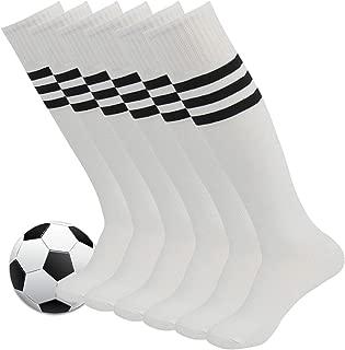 Fasoar Unisex Knee High Stripe Football Sports Tube Socks 2 Pack,6 Pack,10 Pack