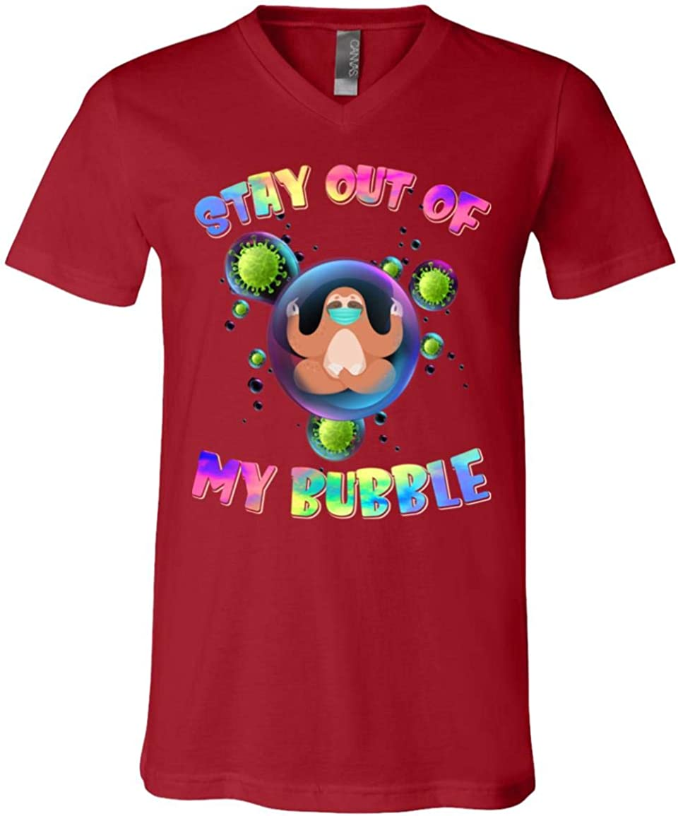 UrVog Sloth Stay Out of My 信託 新品 送料無料 Bubble T-Shirt Namaste Cute V-N