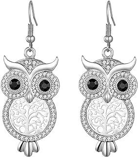 Orecchino a pendente per donna, orecchino a goccia gufo fortunato in oro rosa o orecchino in argento con strass all'orecch...