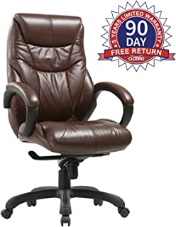 CLATINA Executive Bonded Leather Chair with Lean Forward High Back and Comfort Padding Ergonomic Seat for Managerial Office Home (Brown/New)
