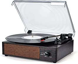 Record Player with Speaker Wireless Portable LP Belt-Driven 3-Speed Turntable with Built..
