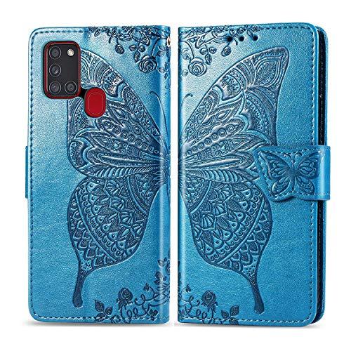 Bravoday Handyhülle für Samsung Galaxy A21S Hülle, Stoßfest PU Leder Tasche Flip Hülle Schutzhülle für Galaxy A21S, mit Kartenfäch und Kickstand, Blau