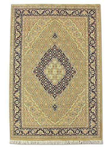 Pak Persian Rugs Handgeknoopt Tabriz tapijt, Dark Champagne/zand, wol, Small, 122 x 185 cm