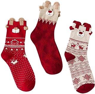 Rawdah_Calcetines, Mujer Invierno Divertidos Termicos Algodon 3 Pares De Invierno De Los Niños Alces Dibujos Animados De Navidad Regalos Gruesos Calcetines De Lana Caliente