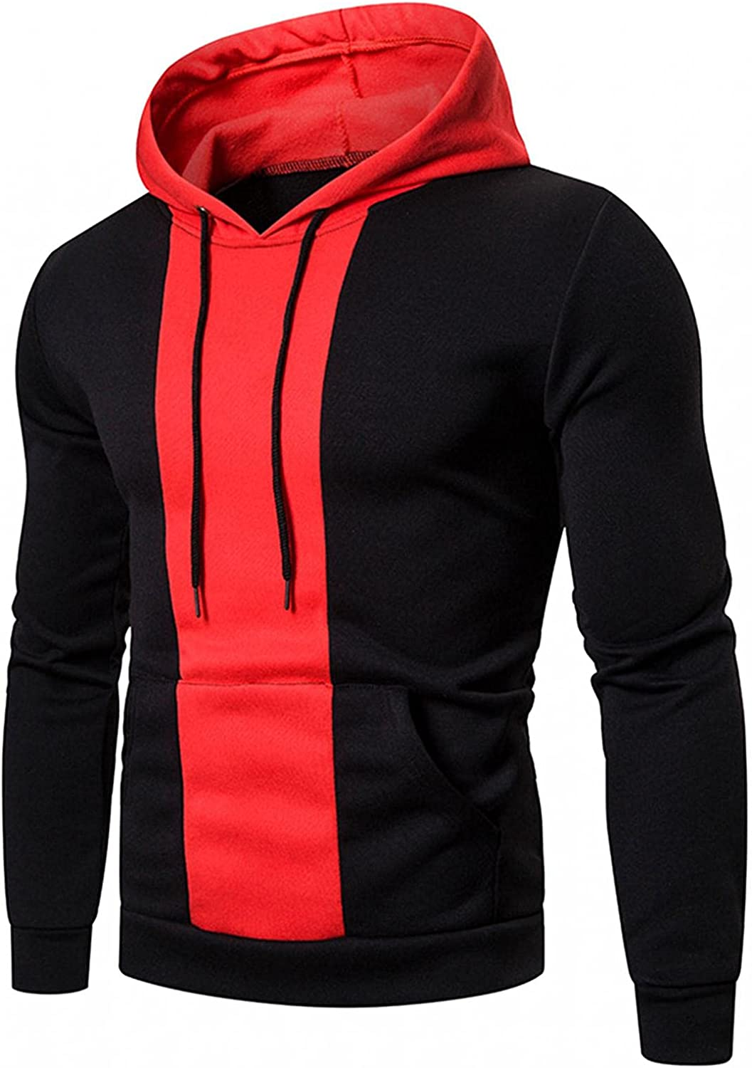 Men's Hoodie Stitching Color Athletic Sweatshirt Casual Long Sleeve Drawstring Pullover Tops Gym Hooded with Pockets