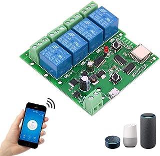 EACHEN WiFi Inlay inalámbrico Relé Momentáneo/Autoblocante Interruptor Inteligente DIY Hogar inteligente Gadget DC 5-32V E...