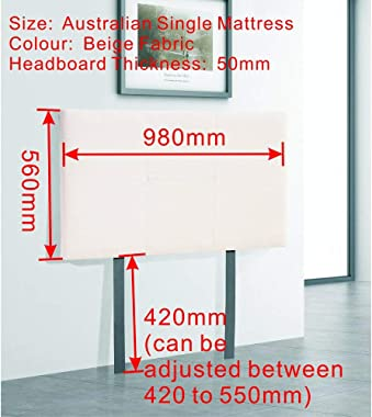 Linen Fabric Single Bed Headboard BedHead - Beige