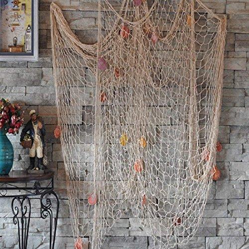 DEWEL Red Marinera Decorativa con Concha Estilo del Mediterránea Decoración de Pared Cosido a Mano 200 * 150 cm (Blanco)