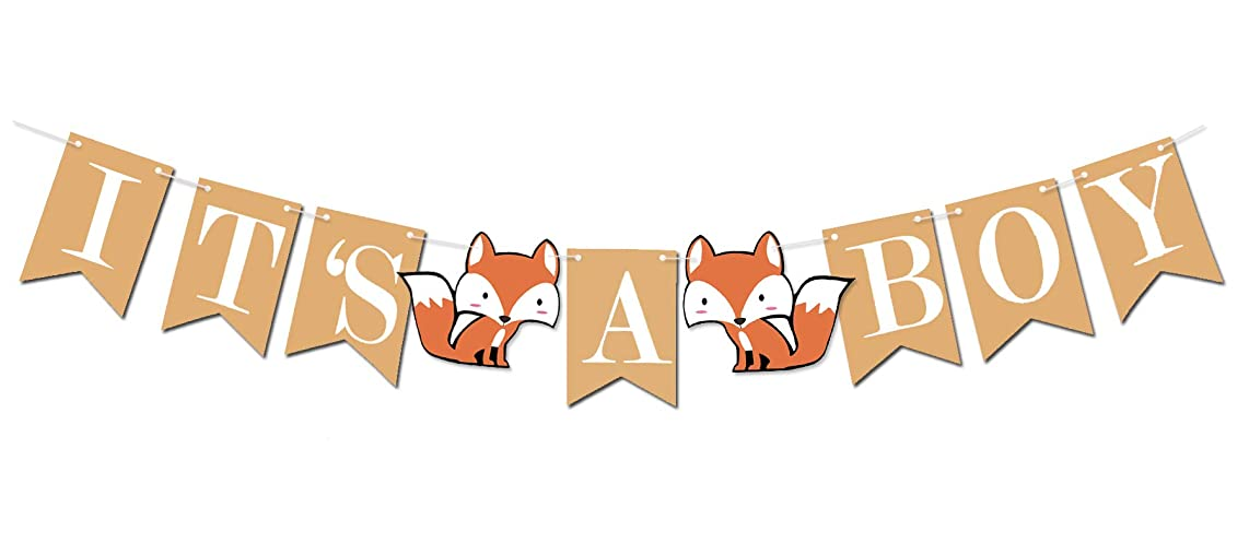 Woodland Creature Fox Banner ITS A BOY for Baby Shower