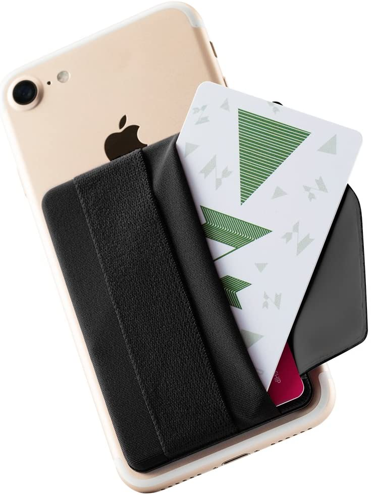 Sinjimoru Phone Grip Credit Card Holder with Flap, Secure Stick-On Wallet as Phone Finger Strap Adhesive ID Card Case for iPhone Case. Sinji Pouch B-Flap Black.