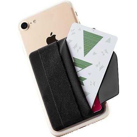 Sinjimoru スマホストラップ 背面 カード収納 ポケット、片手操作便利 スマホ 落下防止バンド iphone/androidなど 全機種対応 携帯電話貼り付けのハンドストラップ付 クレジットカードホルダーケース。Sinji Pouch B-flapブラック。