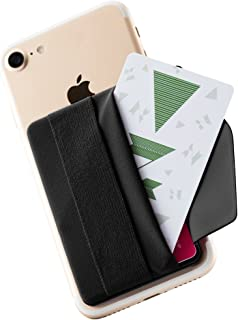 Sinjimoru Phone Grip Card Holder with Flap, Credit Card Stick-On Wallet Functioning as Phone Holder, Safety Finger Strap for iPhone and Android Sinji Pouch B-Flap, Black