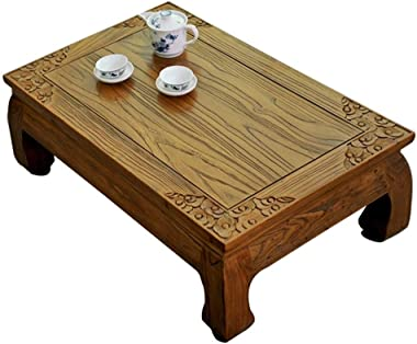 Solid Wood Coffee Table Retro Tea Table Living Room Low Table Balcony Small Coffee Table Bed Desk Laptop Desk Indoor Side Tab