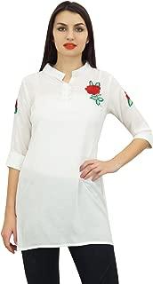 Phagun Women's 3/4 Sleeve Summer Casual Blouse Shirt with Aari Work