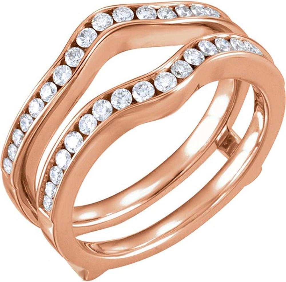 Star Retail Simulated Diamonds Ring Charlotte Mall Guard Pla 14k National uniform free shipping Wrap Rose Gold