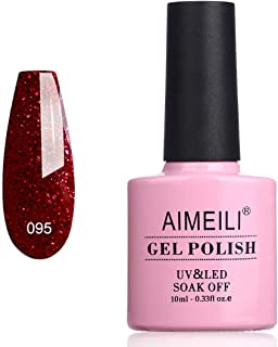 AIMEILI Soak Off UV LED Gel Nail Polish Glitter Christmas - Heart Break Red (095) 10ml