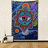"""Trippy Planet & Mushroom Tapestry,Sun Moon Planets Party in Galaxy Outer Space Tapestry,Abstract Alien Third Eye with Fantasy Starry Stars Wall Hanging Bedroom Decorations for Man Boy,51.2""""x59.1',Blue"""