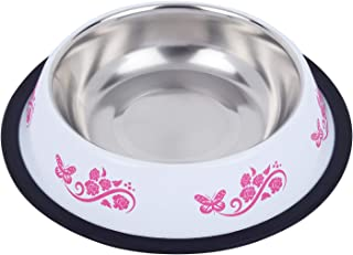 Naaz Bowls Export Quality Inside Stainless Steel Dog Bowl Stylish and Cute Makes a Great Choice for Your pet Cats or Kitte...