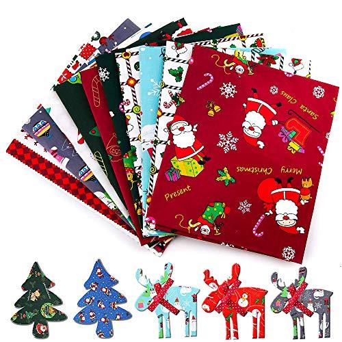 WELLXUNK Tessuto di Cotone Natale, Tessuto Stampato, Patchwork Tessuto Stampato, Tessuto Cotone Set, Cotone Stoffa, Tessuto a Tema Natalizio Tessuto Stampato, per l'Artigianato Fai Da Te (25 * 25)