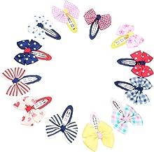 Mixed Bow-tie Kids Cotton Hair Snap Clips 12 Piece (Multicolour)