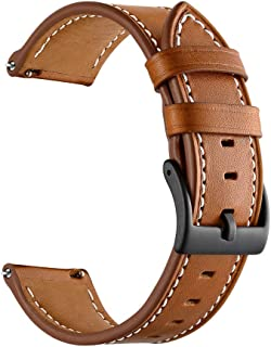 GOSETH Compatible with Gear Sport Band/Galaxy Watch (42mm) Band, 20mm Genuine Leather Replacement Buckle Strap Compatible with Samsung Gear Sport/Galaxy 42mm/ Vivoactive 3/TicWatch E(Brown
