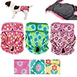 Pack of 3 Female Dog Diapers with 4 - Layers of Absorbent Pads Cat Panties Waterproof Leak Proof Washable (S: Waist 12' - 16', Flowers Pattern)