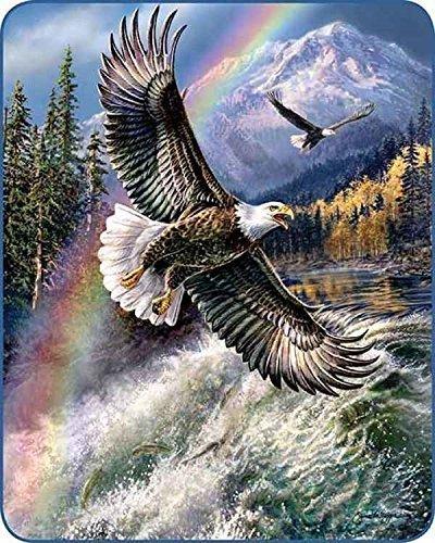 YISUMEI Bedruckte Kuscheldecke Regenbogen Adler Decke Flauschig Weich Fleecedecke 125x150 cm