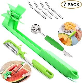 Watermelon Slicer Cutter Windmill Fruit Peeler Carving Knife Baller Scoop Forks Tool Set Melon Cantaloupe Vegetable Slicer Corer Carver Cubes Shapes Design Kitchen Aid Toy Decor For Kids 7 PACK