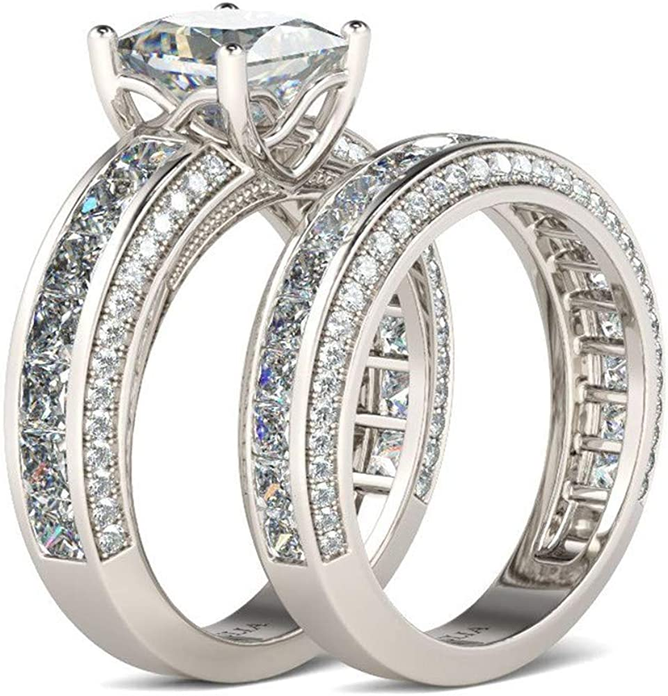 Jeulia 2.85 Carat Sterling Silver Engage Animer and price Factory outlet revision Set Bridal Cut Princess