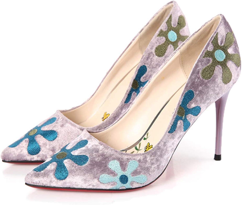 Wthfwm Frauen Spitze Zehen Stiletto Absatz Spitze Zehe Stilettos Pumps Schuh Abend Slipper Mode Mode Dame Stickerei niedrige Hilfe Arbeiten einzelne Schuhe