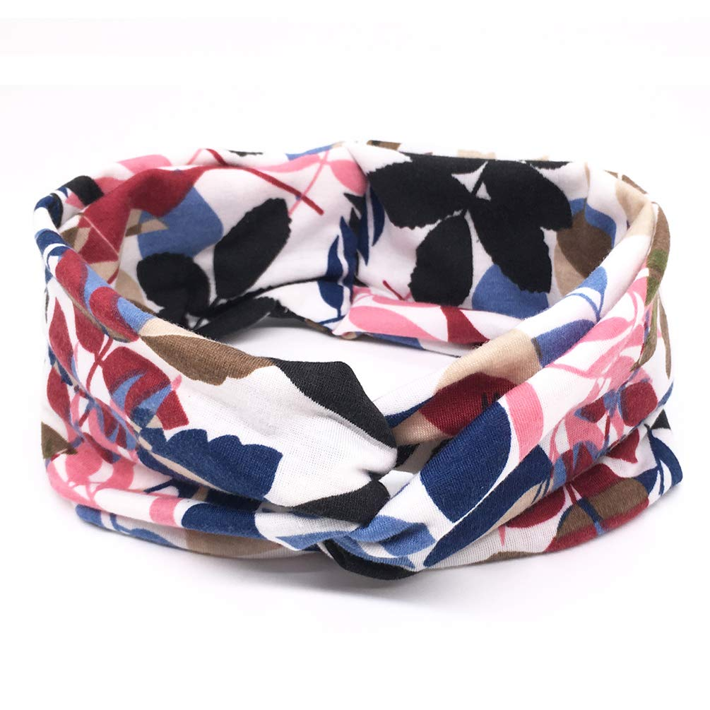DRESHOW 6 Pack Headbands for Women Boho Headbands Vintage Flower Elastic Workout Yoga Sports Facial Knotted Crocheted Elastic Head Wrap