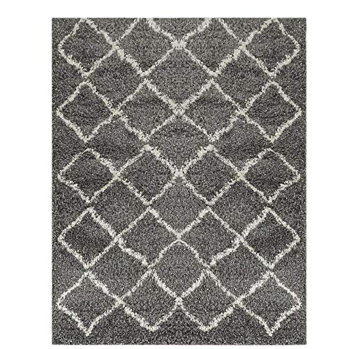 Wyatt & Ash Charcoal/Ivory 3.25 ft. x 5 ft. Diamond Trellis Shag Area Rug