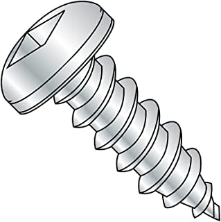 Steel Sheet Metal Screw, Zinc Plated, Pan Head, Square Drive, Type A, #10-12 Thread Size, 3