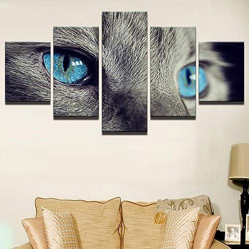 barato en alta calidad YHEGV YHEGV YHEGV Impresiones sobre Lienzo Imagen Modular Impresa Pintura de la Lona para el Dormitorio Sala de Estar Inicio Arte de la Parojo Marco 5 Panel azul Ojos de Animales Poster decoración  a la venta